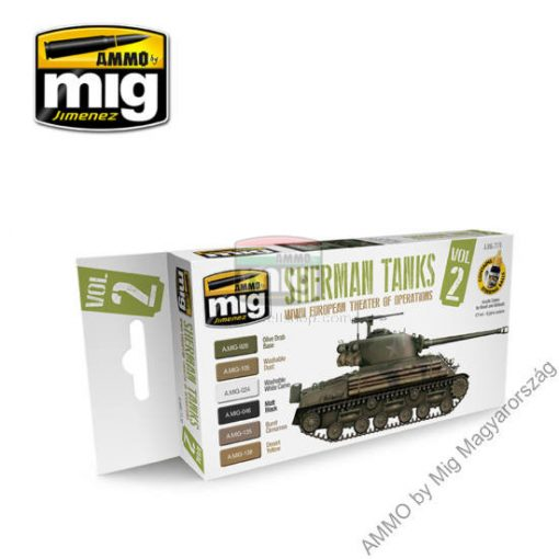 A.MIG-7170 WWII EUROPEAN THEATER OF OPERATIONS SHERMAN TANKS akril festék szett