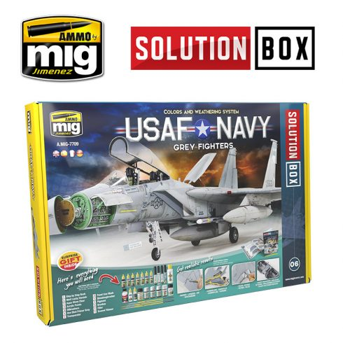 A.MIG-7709 USAF / NAVY GREY FIGHTERS SOLUTION BOX