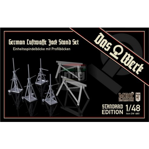 DW48001 1/48 Luftwaffe Jack Stand Set with Saw Horses - Standard Edition