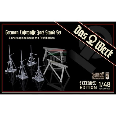 DW48002 1/48 Luftwaffe Jack Stand Set with Saw Horses - Extended Edition