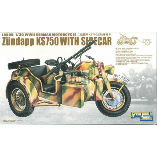 GWH03508 1/35 WWII German Zundapp KS 750 with Sidecar/w trailers makett