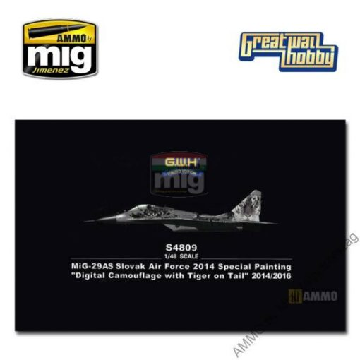 "GWHSNG09 1/48 MiG-29AS Slovak Air Force Special Painting ""Digital Camouflage with Tiger on Tail"" 2014/16 makett"