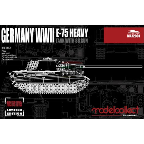 MA72001 Germany WWII E-75 Heavy Tank with 88 Gun