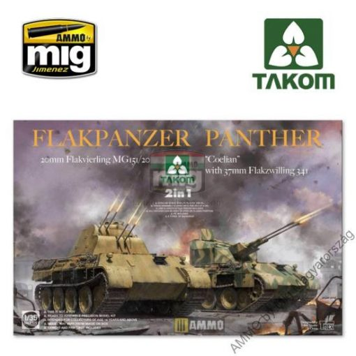 "TAKO2105 1/35 Flakpanzer Panther ""Coelian"" with 37mm Flakzwilling 341 & 20mm flakvierling mg151/20 2 in 1 makett"