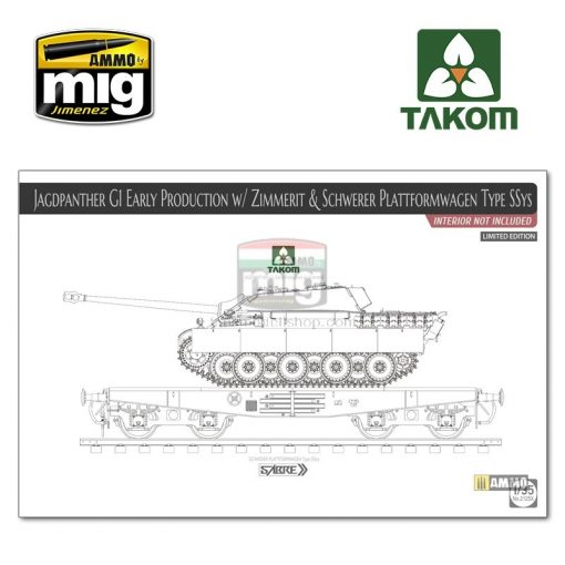 TAKO2125X 1/35 Jagdpanther G1 early w/ Zimmerit & Schwerer Plattformwagen Type SSys (interior not included) makett