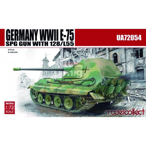UA72054 Germany WWII E-75 SPG GUN with 128/L55 makett