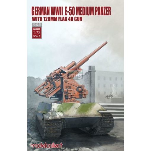 UA72099 German WWII E-50 medium panzer with 128mm flak 40 gun makett