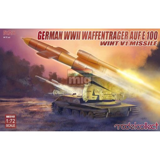 UA72112 German WWII E-100 panzer weapon carrier with V1 Missile launcher makett