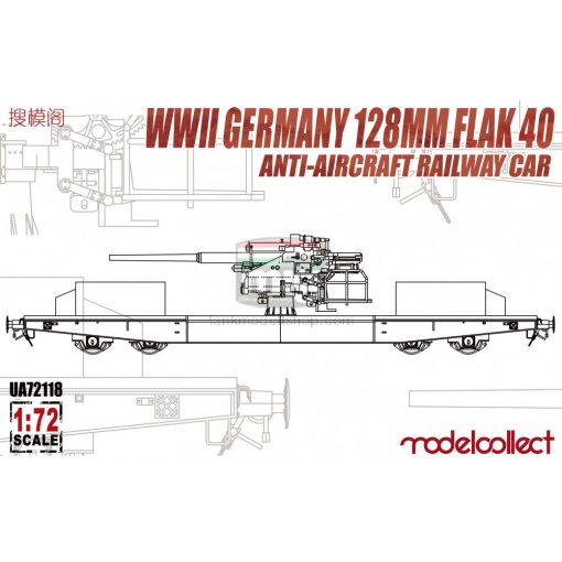 UA72118 WWII Germany 128mm Flak 40 Anti-Aircraft Railway Car makett