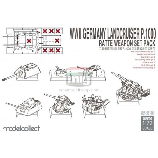 UA72150 WWII Germany landcruiser p.1000 ratte weapon set pack