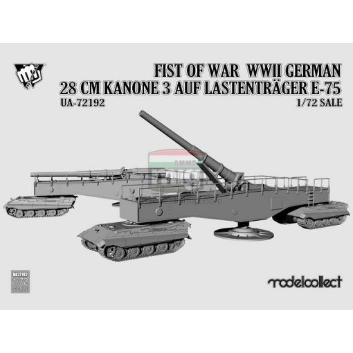 UA72192 Fist of War WWII German 28CM Kanone 3 Auf Lastenträger E-75 makett