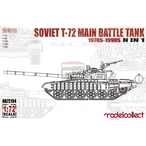 UA72194 Soviet T-72 Main battle tank, 1970s-1990s N in 1 makett